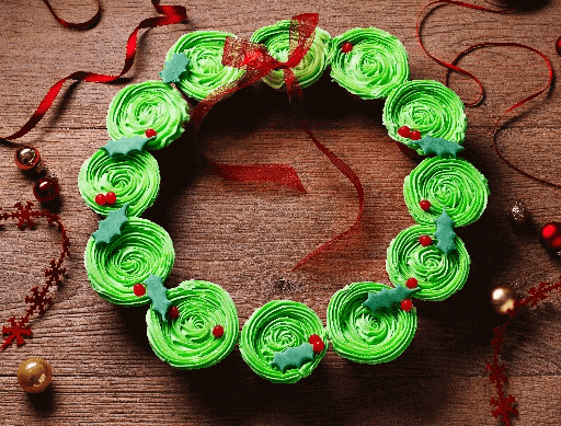 Christmas Wreath Cupcakes