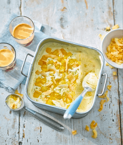No Churn Mango, Coconut And Lime Ice Cream