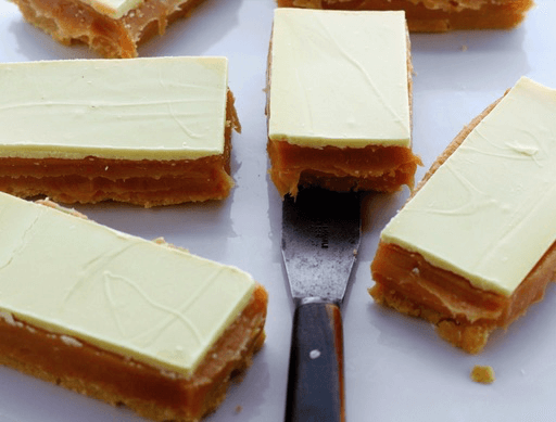 White Chocolate Millionaires Shortbread