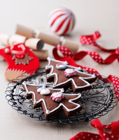 Chocolate Gingerbread Christmas Tree Biscuits