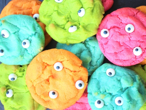 halloween monster brightly coloured cookies with googly eyes