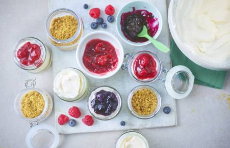 raspberry cheesecake ingredients in bowls