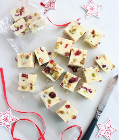 White Chocolate Cranberry and Pistachio Fudge