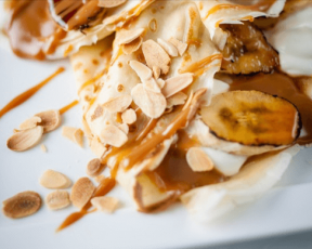 Baked Banoffee Pancakes with Toasted Almonds
