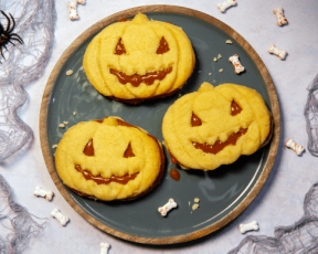 halloween caramel sandwich shortbread biscuits in the shape of pumpkins