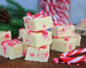 Peppermint Candy Cane White Chocolate Fudge