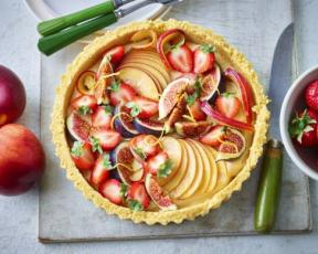 vegan lemon fruit tart